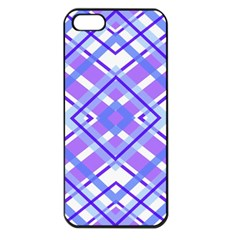 Geometric Plaid Pale Purple Blue Apple Iphone 5 Seamless Case (black) by Amaryn4rt