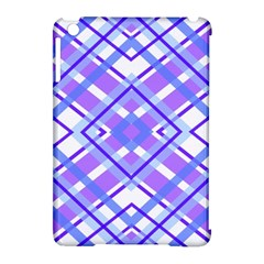 Geometric Plaid Pale Purple Blue Apple Ipad Mini Hardshell Case (compatible With Smart Cover) by Amaryn4rt