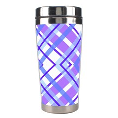 Geometric Plaid Pale Purple Blue Stainless Steel Travel Tumblers by Amaryn4rt