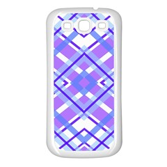 Geometric Plaid Pale Purple Blue Samsung Galaxy S3 Back Case (white) by Amaryn4rt