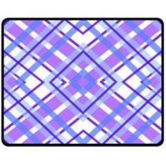 Geometric Plaid Pale Purple Blue Double Sided Fleece Blanket (medium)  by Amaryn4rt