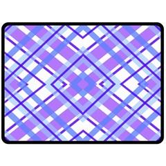 Geometric Plaid Pale Purple Blue Double Sided Fleece Blanket (large)  by Amaryn4rt