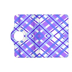 Geometric Plaid Pale Purple Blue Kindle Fire Hd (2013) Flip 360 Case by Amaryn4rt