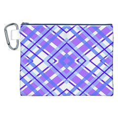 Geometric Plaid Pale Purple Blue Canvas Cosmetic Bag (xxl) by Amaryn4rt