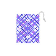 Geometric Plaid Pale Purple Blue Drawstring Pouches (xs)  by Amaryn4rt