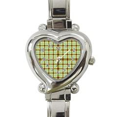 Geometric Tartan Pattern Square Heart Italian Charm Watch by Amaryn4rt