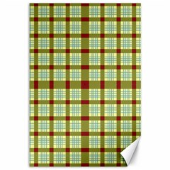 Geometric Tartan Pattern Square Canvas 12  X 18   by Amaryn4rt