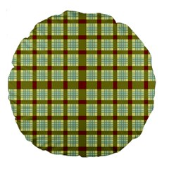 Geometric Tartan Pattern Square Large 18  Premium Round Cushions by Amaryn4rt
