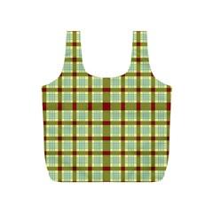 Geometric Tartan Pattern Square Full Print Recycle Bags (s)  by Amaryn4rt