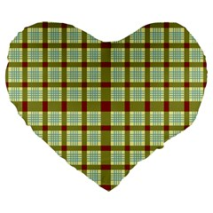 Geometric Tartan Pattern Square Large 19  Premium Flano Heart Shape Cushions by Amaryn4rt