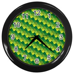Dragon Scale Scales Pattern Wall Clocks (black) by Amaryn4rt
