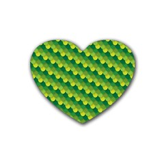 Dragon Scale Scales Pattern Rubber Coaster (heart)  by Amaryn4rt