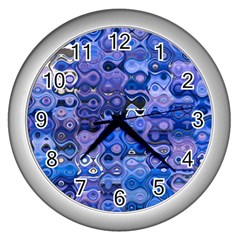Background Texture Pattern Colorful Wall Clocks (silver)  by Amaryn4rt