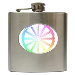 Polygon Evolution Wheel Geometry Hip Flask (6 Oz)