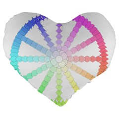 Polygon Evolution Wheel Geometry Large 19  Premium Heart Shape Cushions by Amaryn4rt