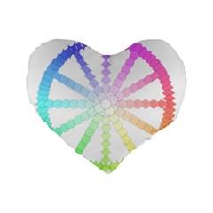 Polygon Evolution Wheel Geometry Standard 16  Premium Flano Heart Shape Cushions by Amaryn4rt