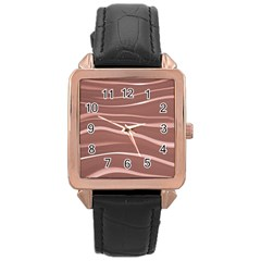 Lines Swinging Texture Background Rose Gold Leather Watch  by Amaryn4rt