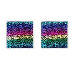 Cheetah Neon Rainbow Animal Cufflinks (square)