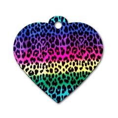 Cheetah Neon Rainbow Animal Dog Tag Heart (two Sides) by Alisyart