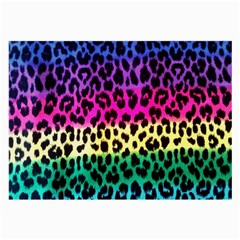 Cheetah Neon Rainbow Animal Large Glasses Cloth (2 Side) by Alisyart
