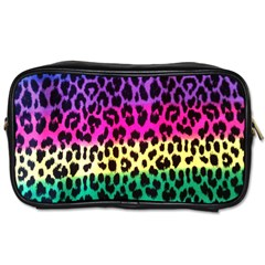 Cheetah Neon Rainbow Animal Toiletries Bags 2 Side by Alisyart