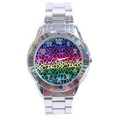 Cheetah Neon Rainbow Animal Stainless Steel Analogue Watch by Alisyart