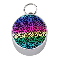 Cheetah Neon Rainbow Animal Mini Silver Compasses by Alisyart
