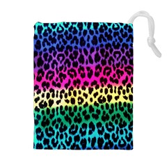 Cheetah Neon Rainbow Animal Drawstring Pouches (extra Large) by Alisyart