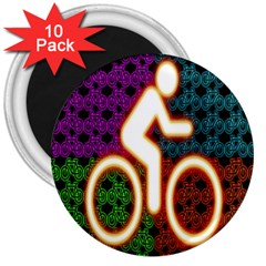 Bike Neon Colors Graphic Bright Bicycle Light Purple Orange Gold Green Blue 3  Magnets (10 Pack)  by Alisyart