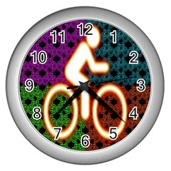 Bike Neon Colors Graphic Bright Bicycle Light Purple Orange Gold Green Blue Wall Clocks (silver)  by Alisyart