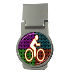 Bike Neon Colors Graphic Bright Bicycle Light Purple Orange Gold Green Blue Money Clips (round)  by Alisyart