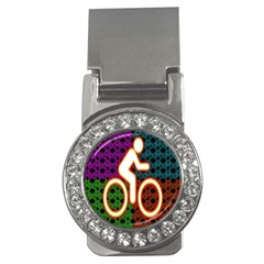 Bike Neon Colors Graphic Bright Bicycle Light Purple Orange Gold Green Blue Money Clips (cz)  by Alisyart