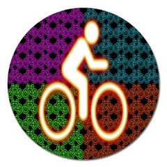 Bike Neon Colors Graphic Bright Bicycle Light Purple Orange Gold Green Blue Magnet 5  (round) by Alisyart