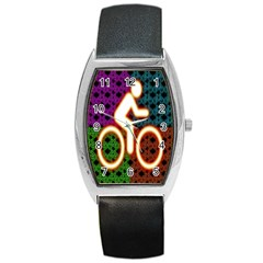 Bike Neon Colors Graphic Bright Bicycle Light Purple Orange Gold Green Blue Barrel Style Metal Watch by Alisyart