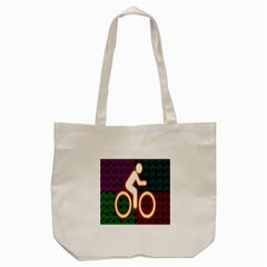 Bike Neon Colors Graphic Bright Bicycle Light Purple Orange Gold Green Blue Tote Bag (cream) by Alisyart