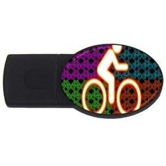 Bike Neon Colors Graphic Bright Bicycle Light Purple Orange Gold Green Blue Usb Flash Drive Oval (4 Gb) by Alisyart