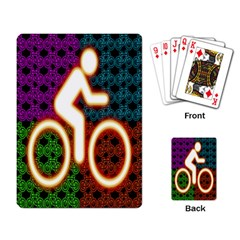 Bike Neon Colors Graphic Bright Bicycle Light Purple Orange Gold Green Blue Playing Card by Alisyart