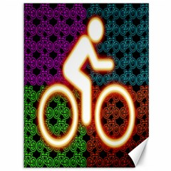 Bike Neon Colors Graphic Bright Bicycle Light Purple Orange Gold Green Blue Canvas 36  X 48   by Alisyart