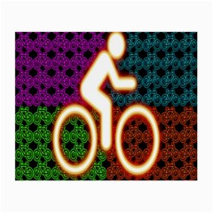 Bike Neon Colors Graphic Bright Bicycle Light Purple Orange Gold Green Blue Small Glasses Cloth (2 Side) by Alisyart