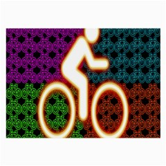Bike Neon Colors Graphic Bright Bicycle Light Purple Orange Gold Green Blue Large Glasses Cloth by Alisyart
