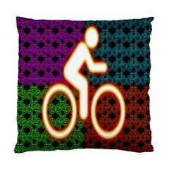 Bike Neon Colors Graphic Bright Bicycle Light Purple Orange Gold Green Blue Standard Cushion Case (one Side) by Alisyart