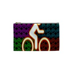 Bike Neon Colors Graphic Bright Bicycle Light Purple Orange Gold Green Blue Cosmetic Bag (small)  by Alisyart