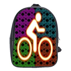 Bike Neon Colors Graphic Bright Bicycle Light Purple Orange Gold Green Blue School Bags(large)  by Alisyart