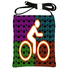 Bike Neon Colors Graphic Bright Bicycle Light Purple Orange Gold Green Blue Shoulder Sling Bags by Alisyart