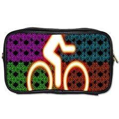 Bike Neon Colors Graphic Bright Bicycle Light Purple Orange Gold Green Blue Toiletries Bags 2 Side by Alisyart