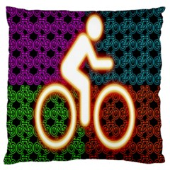 Bike Neon Colors Graphic Bright Bicycle Light Purple Orange Gold Green Blue Large Cushion Case (two Sides) by Alisyart