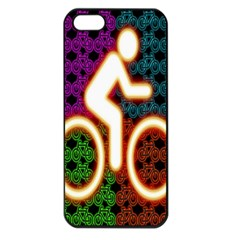 Bike Neon Colors Graphic Bright Bicycle Light Purple Orange Gold Green Blue Apple Iphone 5 Seamless Case (black) by Alisyart