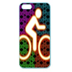 Bike Neon Colors Graphic Bright Bicycle Light Purple Orange Gold Green Blue Apple Seamless Iphone 5 Case (color) by Alisyart