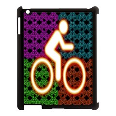 Bike Neon Colors Graphic Bright Bicycle Light Purple Orange Gold Green Blue Apple Ipad 3/4 Case (black) by Alisyart
