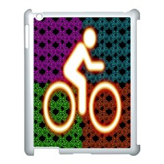 Bike Neon Colors Graphic Bright Bicycle Light Purple Orange Gold Green Blue Apple Ipad 3/4 Case (white) by Alisyart